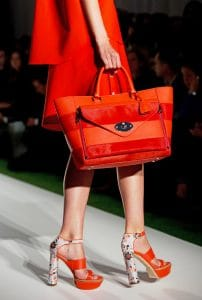 Mulberry Fiery Red Striped Willow Tote Bag - Runway Spring 2014