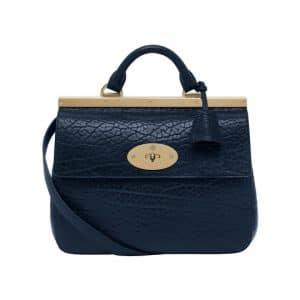 Mulberry Midnight Blue Shrunken Calf Suffolk Small Bag