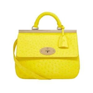 Mulberry Neon Yellow Ostrich Suffolk Small Bag