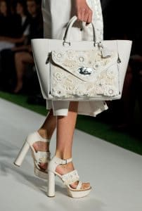 Mulberry White Floral Embellished Willow Bag - Runway Spring 2014