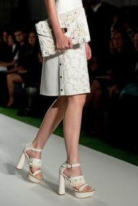 Mulberry White Floral Embellished Willow Clutch Bag - Runway Spring 2014