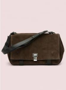 Proenza Schouler Bark/Black Suede PS Courier Bag