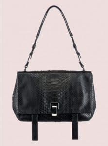 Proenza Schouler Black Python PS Courier Bag