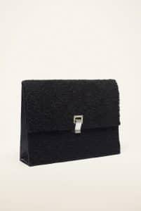 Proenza Schouler Black Shearling Large Lunch Bag