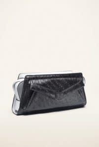 Proenza Schouler Black/Bone PS13 Ostrich Crossbody Bag