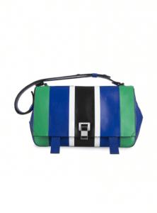 Proenza Schouler Cricket/Royal Blue Patchwork Leather PS Courier Bag