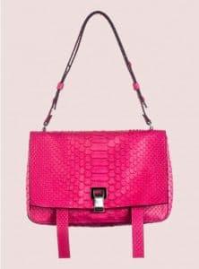 Proenza Schouler Hot Pink Python PS Courier Bag