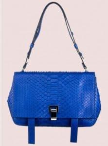 Proenza Schouler Royal Blue Python PS Courier Bag
