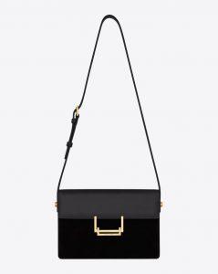 Saint Laurent Black Leather:Suede Lulu Medium Bag