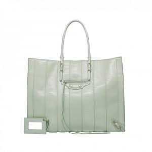 Balenciaga Green Lizard A4 Tote Bag - Resort 2014