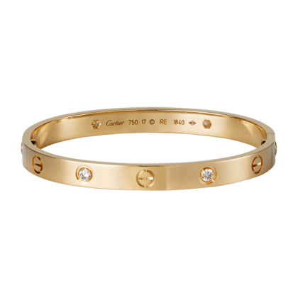 Cartier Pink Gold With 4 Diamonds Love Bracelet