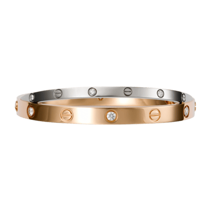 Cartier Pink Gold With 6 Diamonds White Love Bracelet