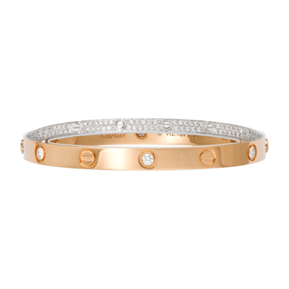 Cartier Pink Gold With 6 Diamonds White Full Diamond Paved Love Bracelet