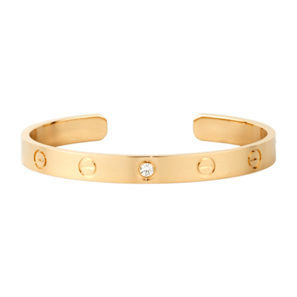 Cartier Yellow Gold Diamond Open Love Bracelet