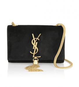 Saint Laurent Black Cassandre Small Shoulder Bag