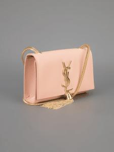 Saint Laurent Blush Cassandre Tassel Small Shoulder Bag