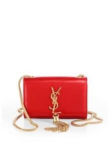 Saint Laurent Red Patent Cassandre Tassel Small Shoulder Bag