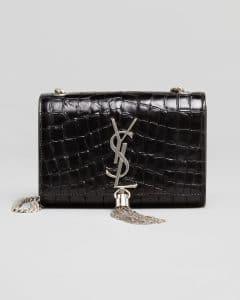 Saint Laurent Black Croc Embossed Cassandre Tassel Small Shoulder Bag
