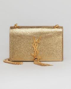 Saint Laurent Gold Cassandre Tassel Small Shoulder Bag