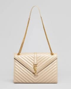 Saint Laurent Beige Matelasse Chain Strap Cassandre Flap Bag