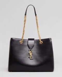 Saint Laurent Black Chain Strap Cassandre Tote Bag
