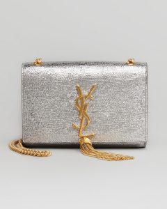 Saint Laurent Silver Cassandre Tassel Small Shoulder Bag