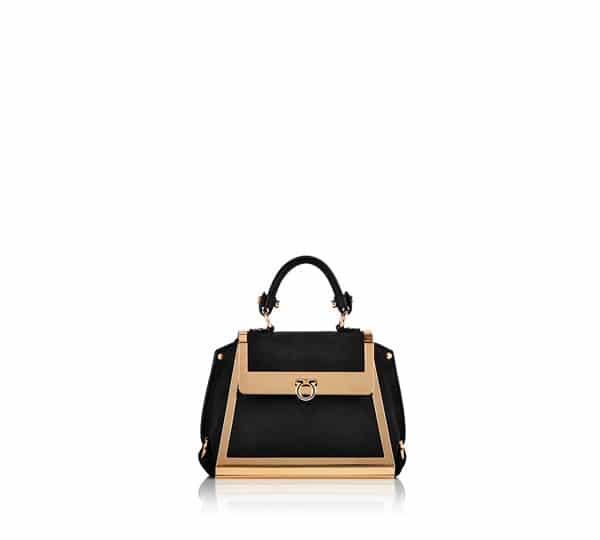 Salvatore Ferragamo Black Gold Sofia Mini Bag