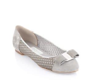 Salvatore Ferragamo Grey Laser Cut Varina Flat Shoes