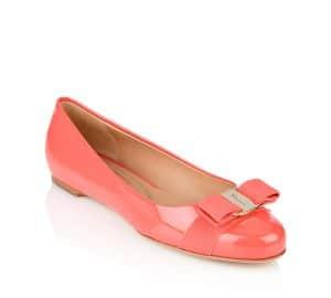 Salvatore Ferragamo Morning Rose Patent Varina Flat Shoes