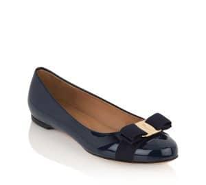 Salvatore Ferragamo Oxford Blue Patent Varina Flat Shoes