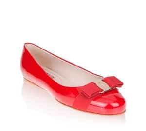 Salvatore Ferragamo Red Patent Varina Flat Shoes