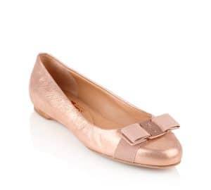 Salvatore Ferragamo Rose Gold Metallic Nubuck Varina Flat Shoes