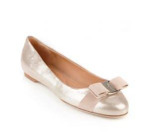 Salvatore Ferragamo Torrecia Metallic Nubuck Varina Flat Shoes