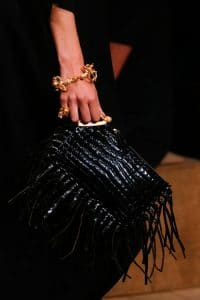 Valentino Black Crocodile Fringed Clutch Bag - Runway Spring 2014