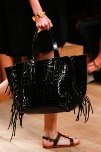 Valentino Black Crocodile Fringed Tote Bag - Runway Spring 2014