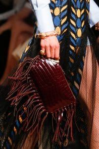 Valentino Burgundy Crocodile Fringed Clutch Bag - Runway Spring 2014