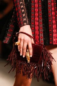 Valentino Burgundy Crocodile Fringed Flap Small Bag - Runway Spring 2014