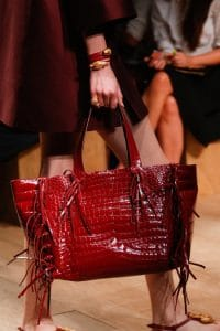 Valentino Burgundy Crocodile Fringed Tote Bag - Runway Spring 2014