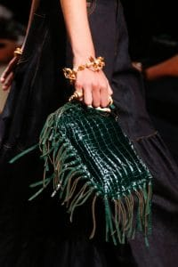 Valentino Green Crocodile Fringed Clutch Bag - Runway Spring 2014