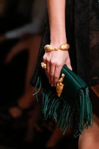 Valentino Green Fringed Flap Small Bag - Runway Spring 2014