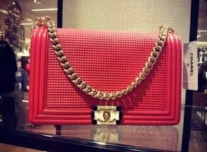 Chanel Cube Red Embossed Boy Bag - Cruise 2014