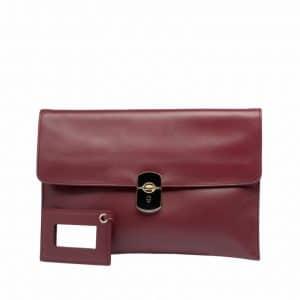 Balenciaga Dark Red Padlock Clutch Bag