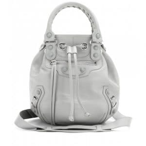Balenciaga Gris Clair Classic Mini Pompon Leather Bag