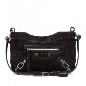 Balenciaga Marble Black Suede Hip Messenger Bag - Fall 2013