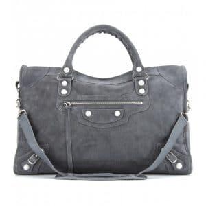Balenciaga Marble Dark Grey Suede City Bag - Fall 2013