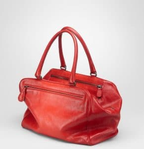Bottega Veneta Fraise New Red Madras Sfumato Brera Medium Bag