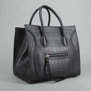 Celine Croc Embossed Phantom Tote Bag - Bella Bag