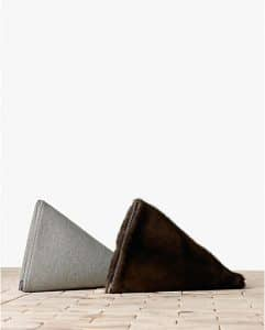 Celine Grey Wool / Brown Mink Berlingot Clutch Bags