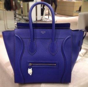 Celine Indigo Blue Pebbled Leather Mini Luggage Bag - Cruise 2014