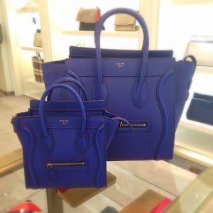 Celine Ink Blue Pebbled Leather Mini and Nano Luggage Bags - Cruise 2014